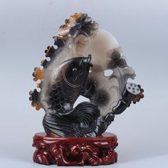Exquisite hand-carved agate fish & lotus statue