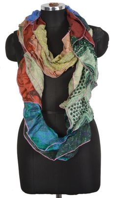 Vintage Silky Sari Recycled Twisted Scarf Multi color ID13 #JaipurCreations #Muffler