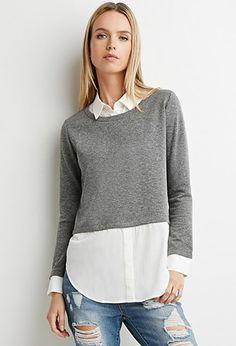 Contrast Combo Sweater   LOVE21   #f21contemporary