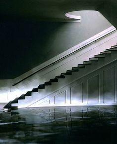 wrap around window, 2003 james casebere School Architecture, Interior Architecture, James Casebere, Modern Classic, Modern Contemporary, Grand Prix, Yellow Hallway, Secret Space, Unusual Art