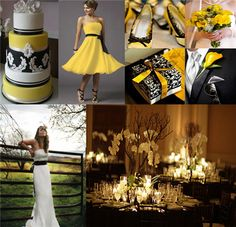 steelers, black and yellow wedding i think the yellow dress is beautiful and very classy