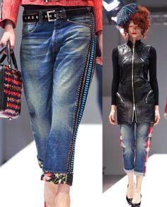 F/W 14/15 - 80's & 90's Revival Denim becomes a blank canvas on which patches, zippers, doodles with bleach pen, studs, splatters, chains, side stripes, are showcased, rolled up, zippered, and stone washed - Photos: Trend Council