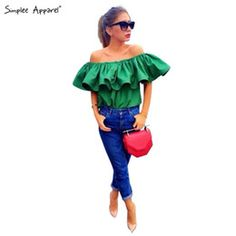SIMPLEE APPAREL Top Quality Sexy off shoulder women blouse shirt Summer tops slash neck ruffles party tops tees beach tube top