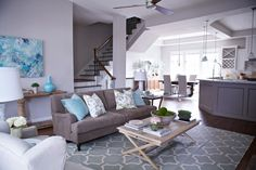 Remember this: gray, turquoise, and a little greenery.