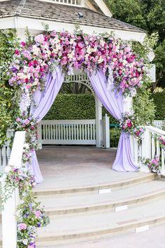 Wedding Ceremony Decor Wedding Ceremony Decor… - Sites new Light Purple Wedding, Lilac Wedding, Floral Wedding, Elegant Wedding, Gazebo Wedding Decorations, Decor Wedding, Outdoor Wedding Gazebo, Wedding Blog, Garden Wedding