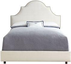 """<ul> <li>EXCLUSIVELY OURS.</li> <li>Handcrafted bed.</li> <li>Pine frame; cotton upholstery.</li> <li>Individually applied nailhead trim.</li> <li>78""""W x 83""""D x 58""""T.</li> <li>Requires use of box spring (not included).</li> <li>Made in the USA.</li> </ul>"""
