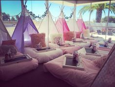Here at liv and bella boutique parties we create a magical set up for your little one to enjoy a slumber party in style with her friends Sleeping in there own . Birthday Sleepover Ideas, Sleepover Room, Slumber Parties, Kids Spa Party, Spy Party, Party Hire, Teepee Party, Teepee Kids, Bedroom Themes