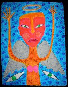 "Outsider folk art quilt ""Guardian Angel"" by Jon Stucky."