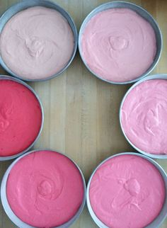 ombre cake batter (Easy enough to do, but be sure you have a lot of food dye ready when you begin)