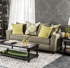 You'll love stretching out and hosting friends with the Furniture of America Weradin Sofa . This handsome gray sofa features a premium woven fabric. Sofa Italia, Bright Pillows, Cozy Sofa, Italian Sofa, Retro Sofa, Classic Sofa, Sofa Shop, Luxury Sofa, Large Sofa