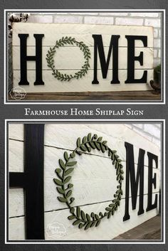 HOME Sign | Farmhouse wall Decor fixer upper style Wooden shiplap sign | boxwood wreath wall decor rustic wood home decor 35x16 gallery wall #ad