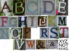 Alphabet Letters /  a b c d e f g h i j k l m n o p r s t u v w Wall Art / Typography  /  Pick Color. $24.00, via Etsy.