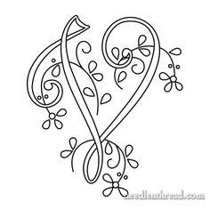 Monogram for Hand Embroidery: V via Mary Corbet