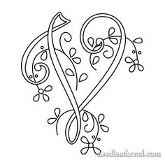 Monogram for Hand Embroidery: V via Mary Corbet