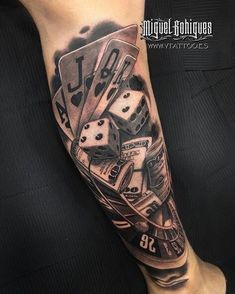 By miguel bohigues, spain tatouage poker, dice tattoo, v tattoo, poker tattoo Forearm Tattoos, Body Art Tattoos, Hand Tattoos, Sleeve Tattoos, Cool Tattoos, Poker Tattoos, Hot Rod Tattoo, Tattoos Skull, Casino Tattoo