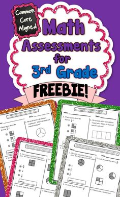 **FREEBIE!!** This freebie contains 4 Common Core math assessments for 3.NF.1 and 3.G.2. #CommonCore #3rdGrade #MathAssessments