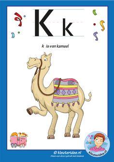 Pakket over de letter k blad 2, letterkaart met een f, kleuteridee, free printable.