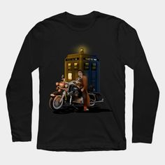 10th Doctor with Big Motorcycle Long Sleeve T-Shirt #teepublic #tee #tshirt #longsleeve #clothing #doctorwho #10thdoctor #davidtennant #tardis #summer #tenthdoctor #halloween #vangogh #starrynight #mist #fog