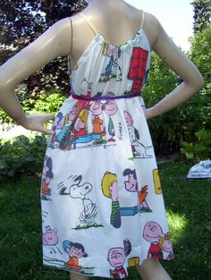 Charlie Brown Dress Upcycled Vintage 1971 Hippie Snoopy Peanuts Comic Geek SunDress Adult M L XL Plus Sundress