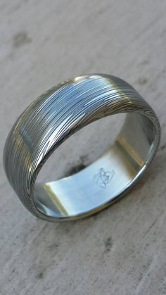 Stainless steel Damascus LEAF Customizable ring by JBluntDesigns