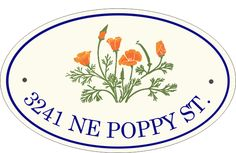 California Poppies Oval Address Signs (http://www.classyplaques.com/california-poppies-oval-address-signs/?page_context=category