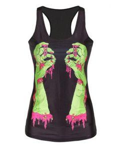 Women/'s Unique Black Cute Dog Puppy Print  Long Vest Tank Top Dress Goth Punk