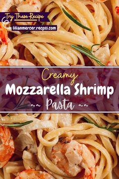 Creamy Mozzarella Shrimp Pasta. If you love creamy Mozzarella Shrimp but hate the hassle of cooking the shrimp, this is for you. #FishRecipes #ChickenRecipes #SeafoodPastaRecipes #RecipesWithShrimp #ShrimpDinnerRecipes #CreamyPastaRecipes #SaladRecipes #ShrimpMeals #FrozenShrimpRecipes Best Easy Dinner Recipes, Cooking Recipes For Dinner, Shrimp Recipes For Dinner, Easy Delicious Recipes, Top Recipes, Amazing Recipes, Easy Recipes, Chicken Pasta Dishes, Chicken Parmesan Recipes