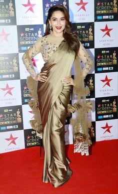 Madhuri dixit Fancy Blouse Designs, Sari Blouse Designs, Beautiful Saree, Beautiful Outfits, Royal Blue Saree, Sarara Dress, Sari Design, Satin Saree, Stylish Sarees