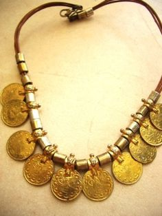 Coins necklace on a leather cord