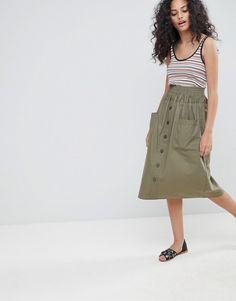 ASOS | ASOS Cotton Midi Skirt with Button Front