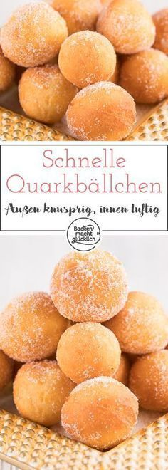 Easy Cake : Nice crunchy and airy inside - these quark balls are just delicious . Baking Recipes, Cookie Recipes, Dessert Recipes, Dessert Simple, Law Carb, Baking Power, Churros, Food Cakes, No Bake Cake