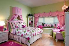 Love the green walls with the bright pink