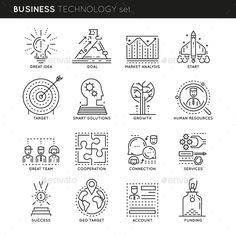 Business Technology Linear Icons Set