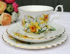 Royal Albert Daffodil pattern china trio