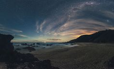 Moonset Way From A New Zealand Beach Photography By: Mikey Mack