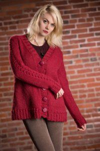 Plymouth Jacket & Cardigan Patterns - 2563 Woman's V-Neck Cardigan Pattern at Jimmy Beans Wool
