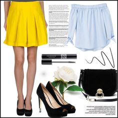 Combination of blue and yellow by miranda-993 on Polyvore featuring mode, MANGO, GUESS, Diane Von Furstenberg and Christian Dior