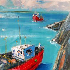 Rescue   Kilbaha Gallery   Ireland's Contemporary Art Gallery   Loop Head Canvas Board, Contemporary Landscape, Palette Knife, Vivid Colors, Seaside, Oil On Canvas, Ireland, Art Gallery, Scene