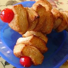 Bread, Monkey Bread Kabobs, Thread Cinnamon And Sugar-Coated Biscuit Dough Onto Skewers And Finish Off With A Maraschino Cherry For A New Twist On Monkey Bread. Just Desserts, Delicious Desserts, Kabob Recipes, Recipies, Monkey Bread, Love Eat, Eat Dessert First, Sweet Bread, Yummy Treats