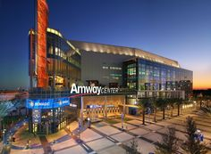 Amway Center with signage work from Design Communications (DCL) in Orlando, Florida. Orlando Florida, Central Florida, Amway Center, Amway Business, Sports Sites, Stadium Architecture, Retail Signage, Orlando Magic, Environmental Graphics