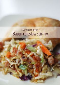 Easy dinner recipe: Bacon coleslaw stir-fry - The Real Food Guide therealfoodguide.com 5 ingredients, 5 minutes (or less) of prep and about 10 minutes on the stove. YUM
