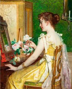 """""""Woman in her boudoir"""" by Frans Verhas"""