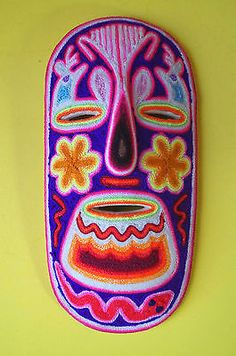 Huichol Yarn Mexico Folk Art Mask Mexican Decor Culture New Woodcarved 8"