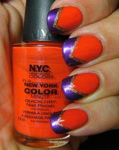 Orange, purple and gold nails