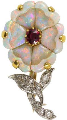 Edwardian Opal Flower Brooch