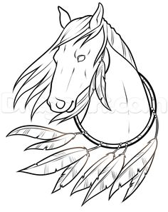 native horse american drawing easy step drawings lesson draw dragoart horses head sketches steps barn imgs line 1011 beginners cdn77