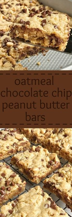 Oatmeal chocolate chip peanut butter bars are a family favorite dessert that everyone loves. Soft cookie bars loaded with oatmeal, peanut butter, peanut butter chips, and chocolate chips. These are a peanut butter (easy chocolate chip cookies crunchy) Peanut Butter Desserts, Peanut Butter Chips, Köstliche Desserts, Dessert Recipes, Bar Recipes, Peanut Butter Squares, Peanut Butter Cookies, Recipies, Low Carb Dessert