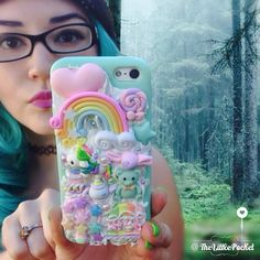 Pastel Haired Girl with The Little Pocket Decoden Phone Case