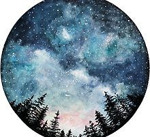 Watercolor Art Print Starry Sky Forest Art Circle Art Home Watercolor Night Sky, Watercolor Circles, Watercolor Galaxy, Galaxy Painting, Galaxy Art, Watercolor Paintings, Watercolour, Space Watercolor, Tattoo Watercolor