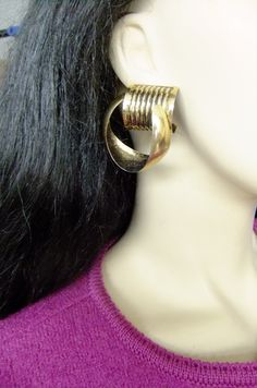 80s goldtone metal earrings, oversized gold earrings, costume jewelry by vintage2049 on Etsy